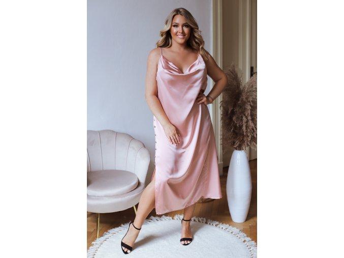 Růžové šaty na ramínka se saténovým efektem a knoflíky (Veľkosť XL/XXL)