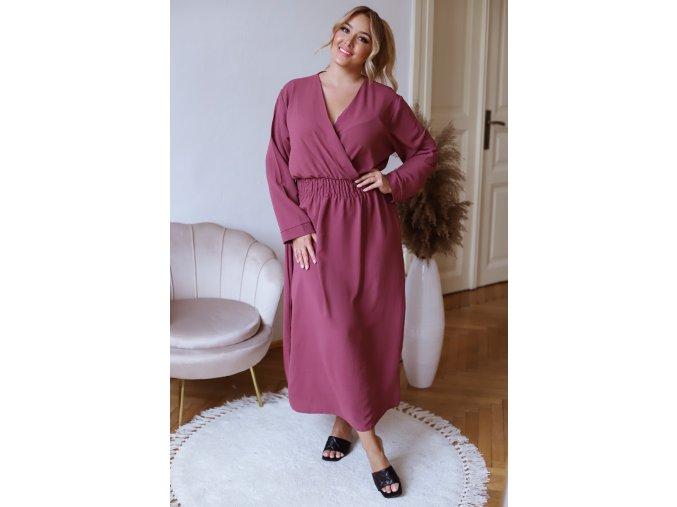 Dlouhé šaty s dlouhým rukávem - kaštanová (Veľkosť XL/XXL)