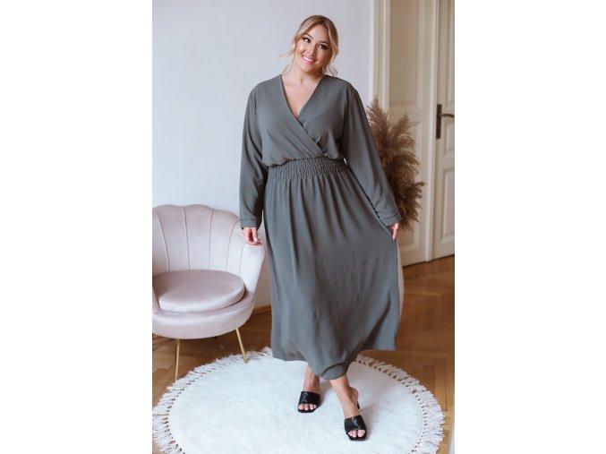 Dlouhé šaty s dlouhým rukávem - khaki (Veľkosť XL/XXL)