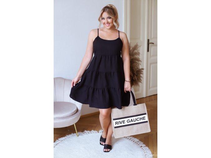 Černé krátké šaty na ramínka (Veľkosť XXXXL)