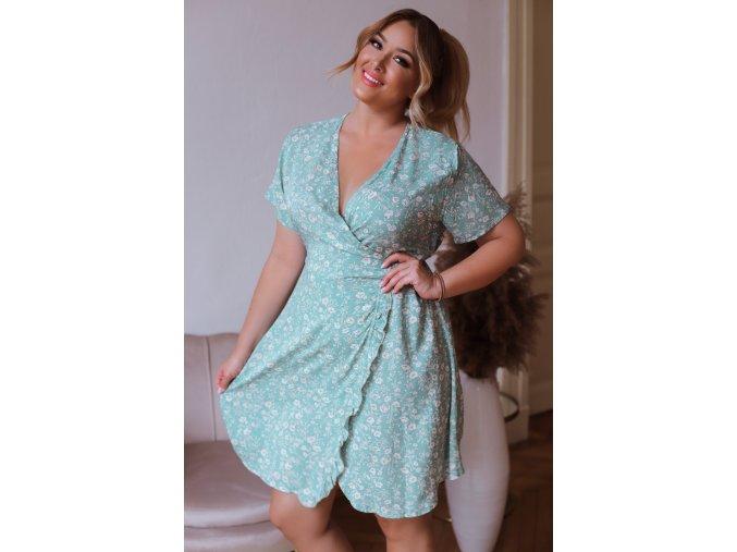 Zelené květinové šaty s hlubokým výstřihem (Veľkosť XXXXL)