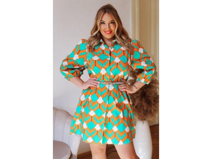 Krátké košilové šaty s reto vzorem a páskem (Veľkosť M/L)