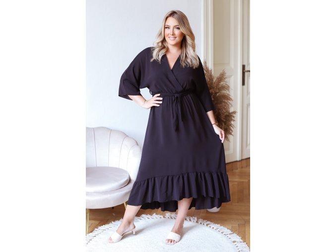 Černé šaty v midi délce (Veľkosť L/XL)