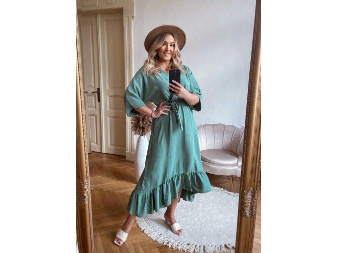 Zelené šaty v midi délce (Veľkosť L/XL)