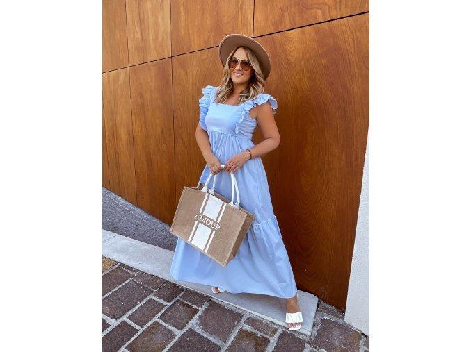 Světle modré šaty se zavazováním na zádech (Veľkosť L/XL)