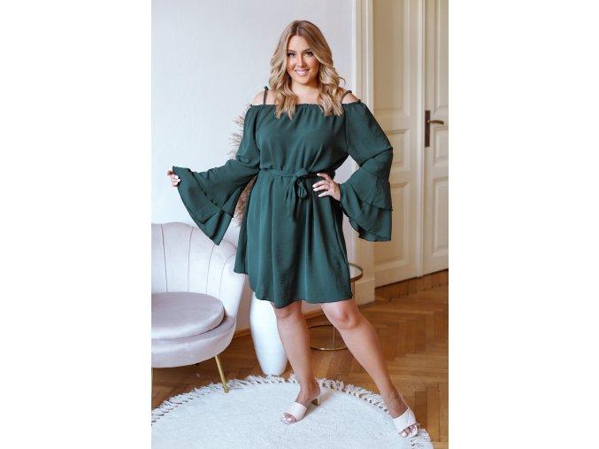 Krátké šaty na ramínka s dlouhým rukávem v tmavě zelené (Veľkosť L/XL)