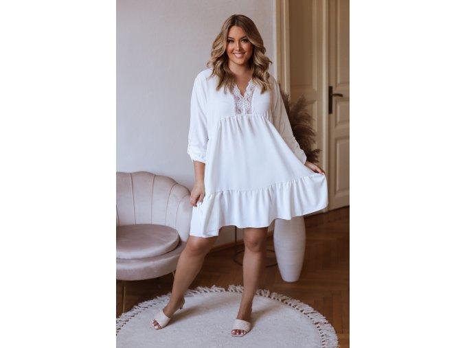 Krátké volné šaty s tříčtvrtečním rukávem a krajkou - bílá (Veľkosť L/XL)