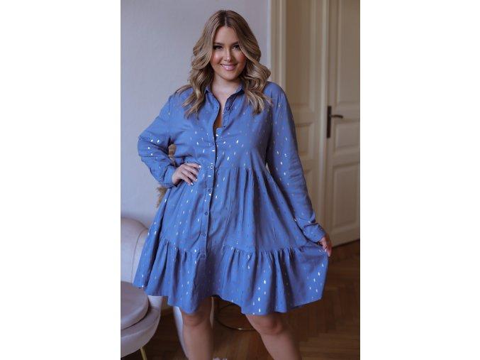 Krátké košilové šaty s dlouhým rukávem a zlatým vzorem - modrá (Veľkosť XL/XXL)