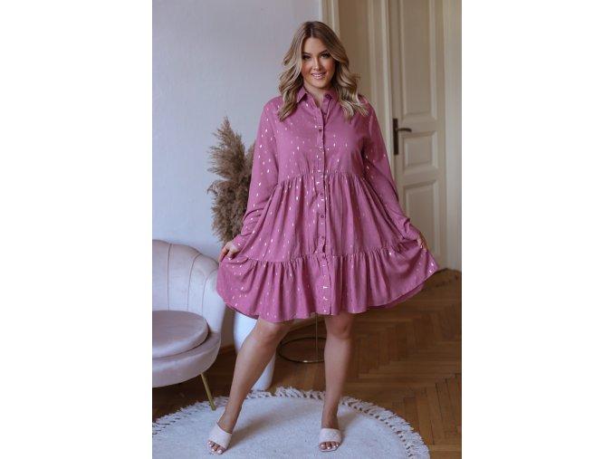 Krátké košilové šaty s dlouhým rukávem a zlatým vzorem - fialovo růžová (Veľkosť XL/XXL)