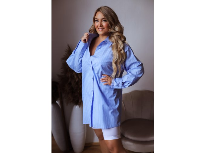 Modrá oversize košile s bílými proužky (Veľkosť XXXXL)