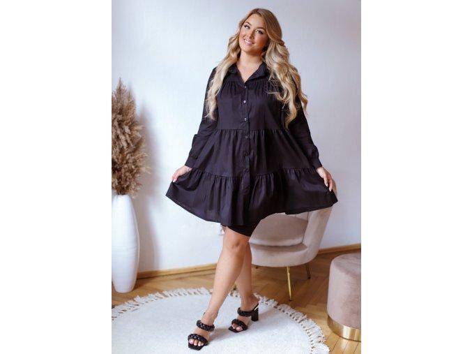 Černé košilové prošívané šaty (Veľkosť L/XL)