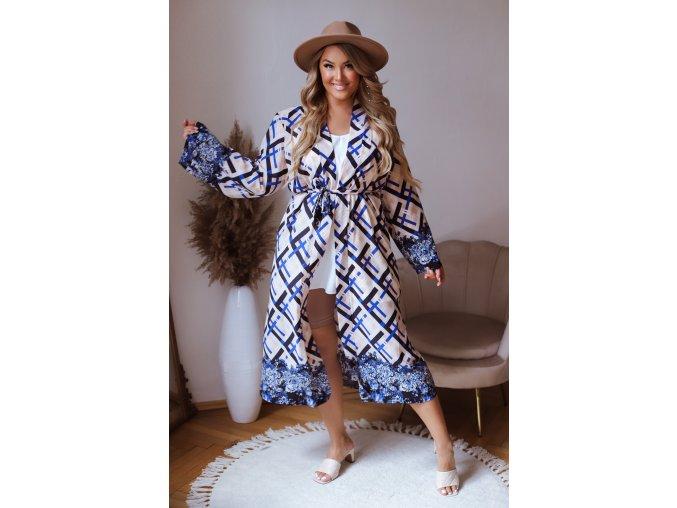 Dlouhé vzorované kimono v modré (Veľkosť XL/XXL)