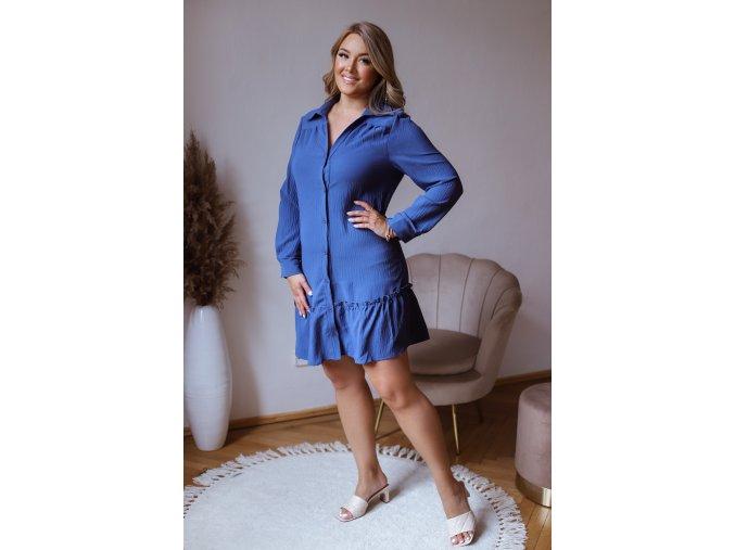 Krátké košilové šaty s volánem a dlouhým rukávem - modrá (Veľkosť XXXXL)