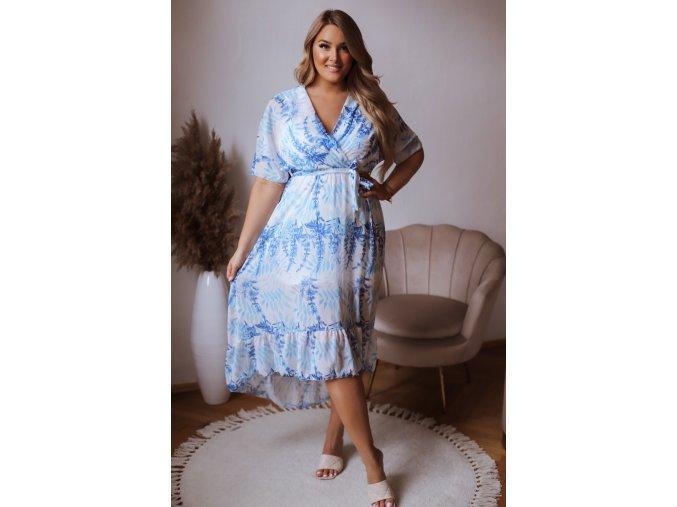 Dlouhé asymetrické bílo-modré šaty (Veľkosť L/XL)