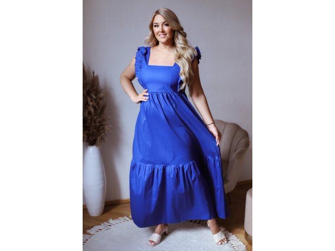 Modré šaty se zavazováním na zádech (Veľkosť L/XL)