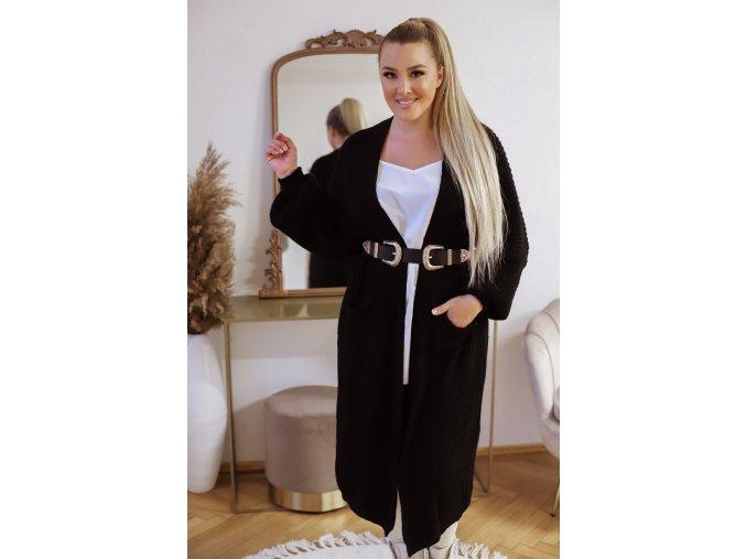 Dlouhý volný kardigán v černé (Veľkosť XL/XXL)