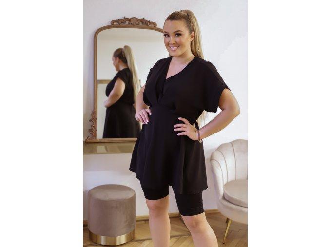 Černá tunika s krátkým rukávem (Veľkosť L/XL)