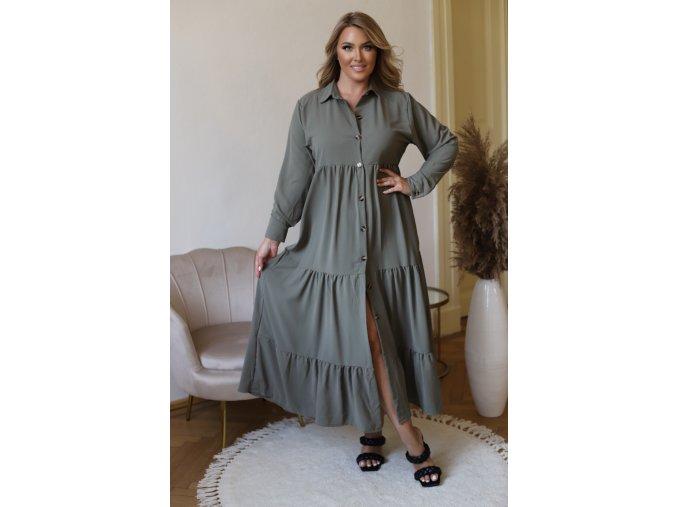 Dlouhé košilové šaty s dlouhým rukávem (Veľkosť M/L)