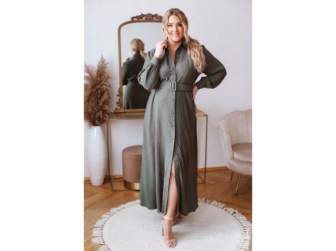 Dlouhé elegantní košilové šaty se strukturovanou látkou a opaskem - khaki zelená (Veľkosť L/XL)