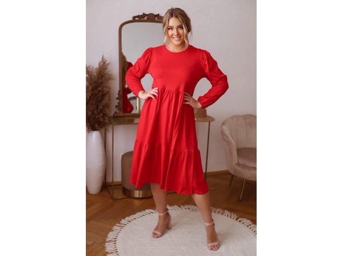 Červené prošívané šaty s dlouhým rukávem (Veľkosť XL)