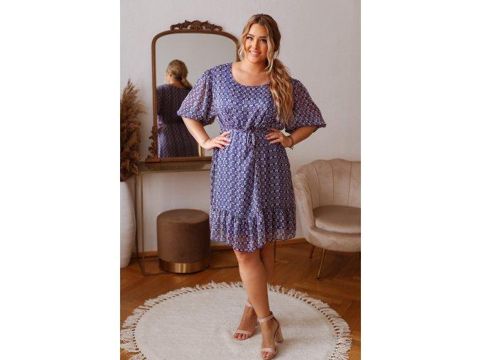 Modré vzorované šaty s páskem (Veľkosť L/XL)