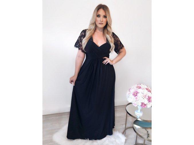 Dlhé čierne spoločenské šaty s krajkou na rukávoch