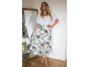 Bílá sukně s květinami (Veľkosť M/L)
