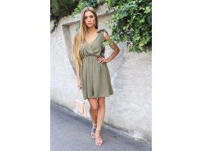 Krátké šaty s mašlemi na ramenou v khaki barvě (Veľkosť S/M)