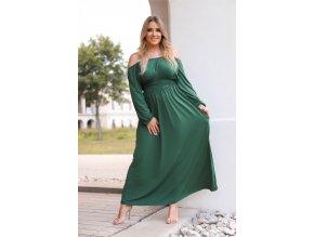 Dlouhé zelené šaty s dlouhými rukávy (Veľkosť XXXL)