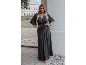 Dlouhé šedé šaty s širokými rukávy (Veľkosť XXXL)
