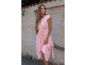 Světlo-růžové asymetrické šaty s páskem (Veľkosť S/M)