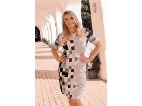 Tričkové šaty s geometrickým vzorem - šedá (Veľkosť XXXXL)