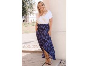 Tmavě-modrá květinová sukně (Veľkosť XXXL)