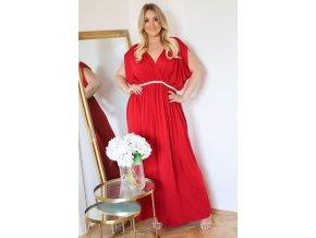 Dlouhé volné šaty v červené (Veľkosť XXXL)