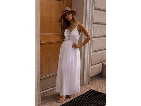 Dlouhé bílé šaty na ramínka (Veľkosť S/M)