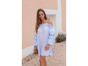 Modré šaty s odhalenými rameny (Veľkosť XL)