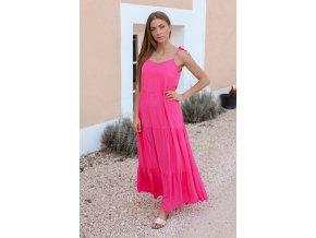 Růžové maxi šaty (Veľkosť Univerzální)