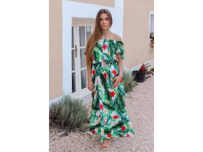 Maxi šaty se vzorem palmových listů a květů (Veľkosť S/M)