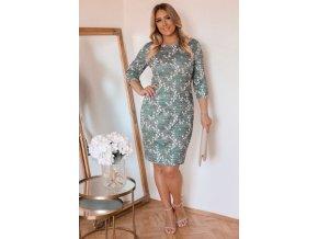 Zelené květinové šaty s tříčtvrtečním rukávem (Veľkosť XXXXL)