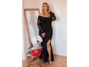 Elegantní společenské šaty s krajkovými rukávy (Veľkosť XXXXL)