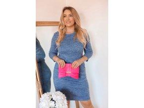 Modré svetrové šaty s kapsami (Veľkosť XXXXL)