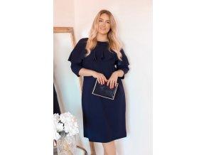 Tmavě-modré šaty s volánem (Veľkosť XXXXL)