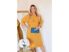 Horčičně-žluté šaty s volánem (Veľkosť XXXXL)