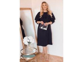 Černé šaty s volánem (Veľkosť XXXXL)