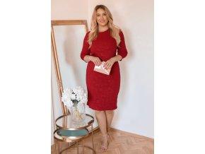 Vínové šaty s jemným květinovým vzorem (Veľkosť XXXXL)