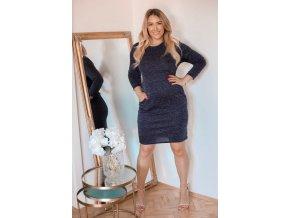 Tmavě-modré třpytivé svetrové šaty s kapsami (Veľkosť XXXXL)