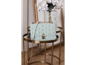 18413 bezova kabelka s perlickami v mentolovej farbe
