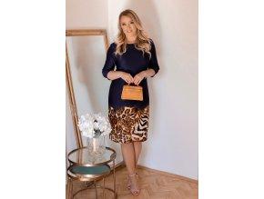 Tmavě-modré šaty s leopardím vzorem (Veľkosť XXXXL)