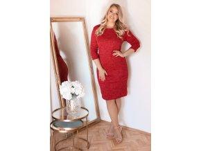 Červené svetrové šaty (Veľkosť XXXXL)