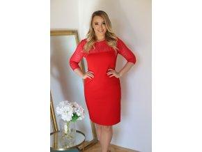 Červené šaty s krajkou (Veľkosť XXXXL)